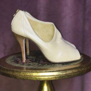 Max Studio Shoes - Max Studio Cream Leather Asymmetrical Zipper Heels
